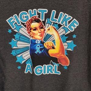 "Bella T-Shirt ""Fight Like a Girl"" Cancer Ribbon XL"